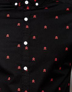 Image 3 ofASOS Skinny Shirt with Arrow Print in Long Sleeve