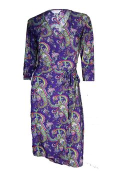 The Iconic Wrapped Dress - Purple Indie Paisley - Customise Wrap Dress by Kristine's Collection Couturiere