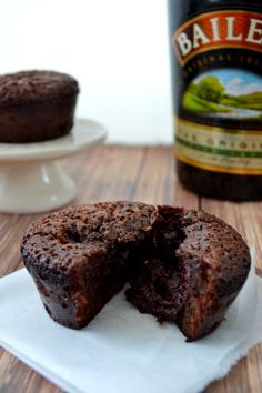 Molten Chocolate Baileys Cake: Amazing! Microwave for 8 sec before eating for a molten center.