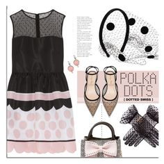 Pink | Black. by s-elle on Polyvore featuring RED Valentino, Betsey Johnson, Fred Leighton, Valentino and PolkaDots