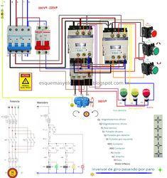 Inversor de giro pasando por paro manual, Electrical Panel Wiring, Electrical Circuit Diagram, Electrical Installation, Electrical Engineering, Paros, Ac Capacitor, Elevator Design, Fire Alarm System, Schematic Design