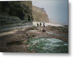"""""""Surfers by the Cliffs"""" California surfers and landscape photography on metal print by Valerie Rosen Photography"""