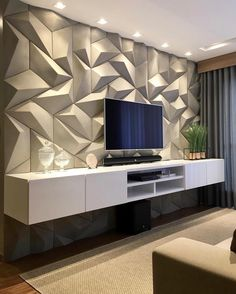 These days TVs are often found on walls, but when it comes to deciding how you want to create the perfect TV wall, it can be challenging to. Tv Wall Design, House Design, Tv Cabinet Design, Design Case, Tile Design, Tv Wall Cabinets, Living Room Tv Unit Designs, Perfect Tv, Tv Wall Decor