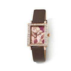 Victoria Wieck Hummingbird Dial Leather Strap Watch