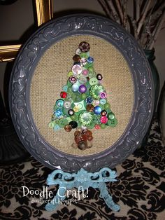 More button fun with Doodle Craft. A Button Tree! Retro Christmas Tree, Christmas Buttons, Christmas Holidays, Christmas Crafts, Christmas Decorations, Christmas Ornaments, Christmas Things, Happy Holidays, Christmas Stockings