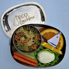 Sailing Bento in a stainless steel  ECOlunchbox Oval.