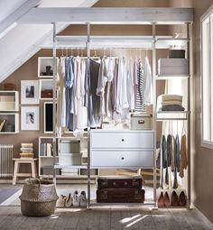IKEA Deutschland | Damit du den Überblick über deine Klamotten nicht verlierst ist das ELVARLI System wie dafür geschaffen. Plane jetzt ganz einfach deine individuelle ELVARLI Kombination. #Schlafzimmeraufbewahrung #Schranksystem #offenerschrank #Ordnung