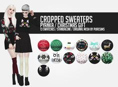 """pyanka: """" Cropped sweaters; Merry Christmas! As a delayed christmas present I have these sweaters for you. I really hope you like them and at least one cute sim will spend their Christmas in one of..."""