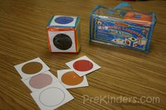 giant printable colour cube. children roll dice and find something in the room/in front of them that matches! fun generalization/maintenance activity for id'ing colours.