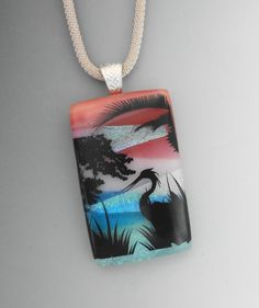 Dichroic Pendant Beach Jewerly Herons on Dichroic by GlassCat