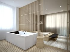 Apartment in kiev. by vasiliy butenko, via Behance...what this means is Vasiliy was given a ton of money to do nothing and now idiots ooh and ahh and long for nothing simply because it is expensive. The tub looks more comfortable than the bed