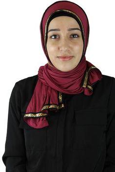 Gold Trim Jersey Hijab - Maroon