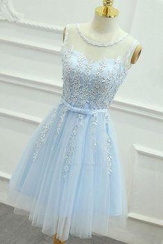 2da9d06d54 Customized Light Appliques Homecoming Dress, A-Line Homecoming Dress,  Homecoming Dress Short, Blue Prom Dress. Rövid Ruhák