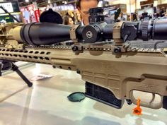 Barrett MRAD with Leupold and night vision attachment. Shot Show, Night Vision Monocular, Night Sights, Hunting Guns, Firearms, Shots, Cool Stuff, Binoculars, Awesome