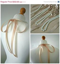 SALE Beige Bridesmaids Pearl Necklace Gifts Set of Four Pearl Ribbon Necklaces With White Pearls And Beige Satin Ribbon Bridesmaid Gifts