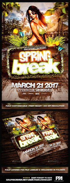 Spring Break PSD Flyer Template PSD. Download here: http://graphicriver.net/item/spring-break-psd-flyer-template/15185043?ref=ksioks
