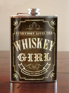 Whiskey Girl stainless steel flask 8oz. by trixieandmilo on Etsy, $26.00