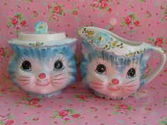 Lefton Miss Priss Kitty Sugar and Creamer Set
