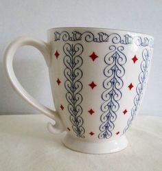 Starbucks Coffee Mug Barista 16oz Red White Blue Diamonds Blue Hearts 2003 #StarbucksBARISTA