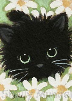 Ferret Art ACEO print Black Cat Daisies by ShellyMundelArt