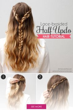 The Lace-Braided Half Updo for Any Summer Party Rock this lace-braided half updo that is perfect for getting hair out of your face while still letting it hang loose. Half Updo Hairstyles, Winter Hairstyles, Party Hairstyles, School Hairstyles, Wedding Hairstyles, Hairstyles Men, Hairdos, Cara Delevingne, Braided Half Updo