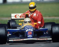 Ayrton Senna de carona na Williams de Nigel Mansell. Silverstone 1991