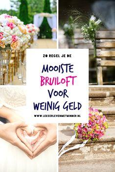 Een gemiddelde bruiloft kost tegenwoordig zo tussen de 12.000 en 18.000 euro. Maar: met een lager budget kun je nog steeds een fantastische dag hebben. Als je een klein beetje slim organiseert! #trouwen #bruiloft #doehetzelf #diytrouwen #huwelijk #goedkope #bruiloft