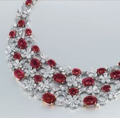 Christie's Magnificent Jewels, Geneva, 18 May, 2016 AN IMPORTANT RUBY AND DIAMOND 'FLORA' NECKLACE, BY BULGARI CHF2,800,000 - CHF3,500,000 ($2,880,344 - $3,600,430)
