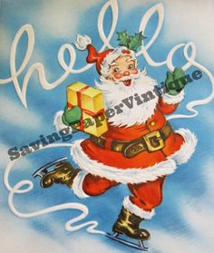 Vintage Ice Skating Santa Christmas Digital by SAVINGPAPERVINTIQUE