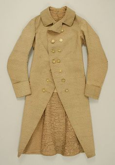 Coat  Date: ca. 1785 Culture: American or European Medium: wool, silk Dimensions: Length at CB: 41 in. (104.1 cm) Credit Line: Purchase, NAMSB Foundation Inc. Gift, 1999 Accession Number: 1999.105.1  This artwork is not on display