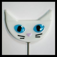 Glassworks Northwest - White Cat Plant Stake - Fused Glass Garden Art