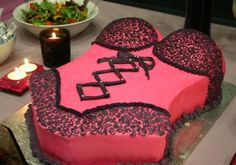 Black and pink lingerie Bachlorette party cake...better be double chocolate with rasberry filling yummy