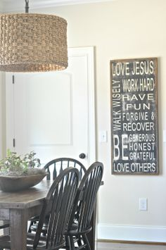 I LOVE THE LOOK OF THAT ROOM!                         Family Rules Sign (customizable). $125.00, via Etsy.