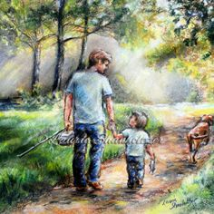 """Prices start at $18 """"Fishing With My Dad """" reproduction of my pastel painting. Comes in various sizes of flat canvas or art paper prints.  - A father and son will always have memories to share of fishing together in those early morning hours -"""