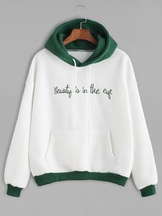 Color Block Slogan Embroidered Hooded Sweatshirt — 0.00 € -------color: White size: one-size