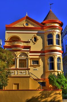 San Francisco Victorian Art Print by Paul Owen Victorian Architecture, Amazing Architecture, Victorian Buildings, Woman Painting, House Painting, Beautiful Buildings, Beautiful Homes, Colourful Buildings, Colorful Houses