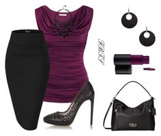 Lavish In Burgandy Wine by flybeyondtheskies on Polyvore featuring H&M, Alaïa, Coach, GUESS, Boohoo and MAC Cosmetics