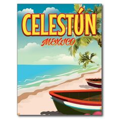 Celestún Mexico travel poster Postcard