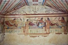 Tarquinia, Italy, around 470 B.C. Via a narrow corridor leading downstair one has access to the rectangular burial room with a sloping ceiling Stock Photo. copied solely for non-commercial purpose