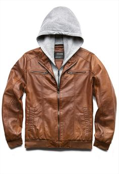 Collection Mens Leather Jacket With Hood Pictures - Klarosa