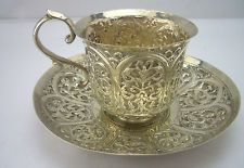 STUNNING Indian TIFFIN CUP & SAUCER c1900 I wonder if the handle got hot...