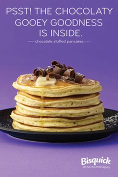 Hot chocolate melting out of the center of these pancakes makes them irresistible!