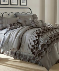 Love this Anastacia Comforter Bedroom Set with the ruffles! Such a pretty color!