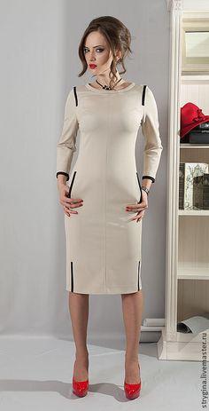 Купить Платье Trattino - бежевый, однотонный, стрыгина, strygina, платье, платье офисное, офисный стиль