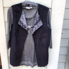 The perfect combo!! Sequin detailed #tribaljeans top with fur #tribaljeans vest #fall
