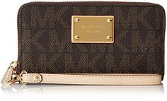 Michael Kors Jet Set Large iPhone Wristlet Signature Brown