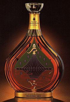 Erte, Bottle L'Esprit Du Cognac, Serigraph on Glass, Decanter Alcohol Bottles, Liquor Bottles, Perfume Bottles, Cigars And Whiskey, Scotch Whiskey, Cocktail Drinks, Alcoholic Drinks, Cocktails, Rum Bottle