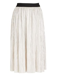 THE FIX Metallic Midi Skirt Stone/Beige
