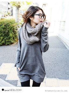 Fall grey sweater dress, black tights and chunky sweater