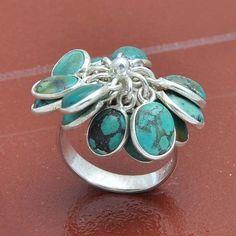 TIBTIAN TURQUOISE 925 SOLID STERLING SILVER  RING 8.13g DJR3954 #Handmade #Ring